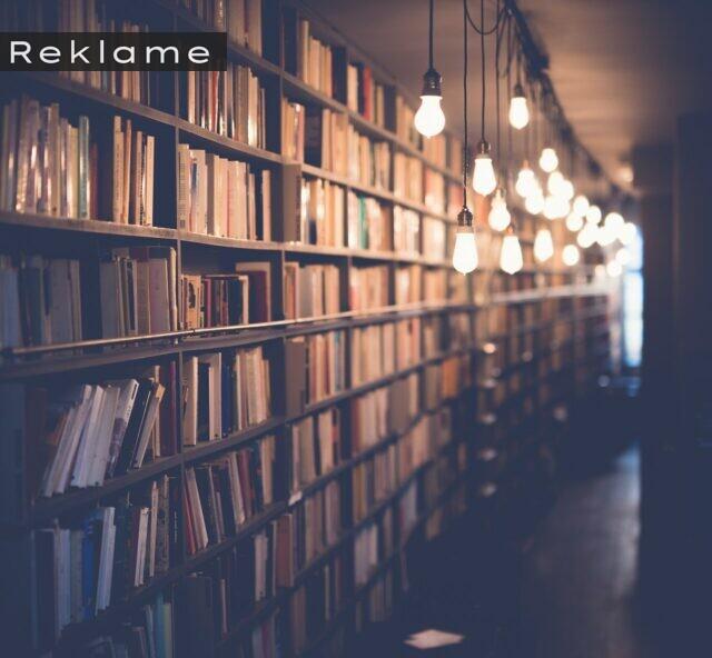 En reol fyldt med bøger